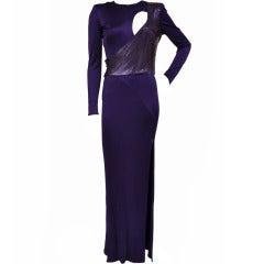 New Versace Purple Metal Mesh Long Dress