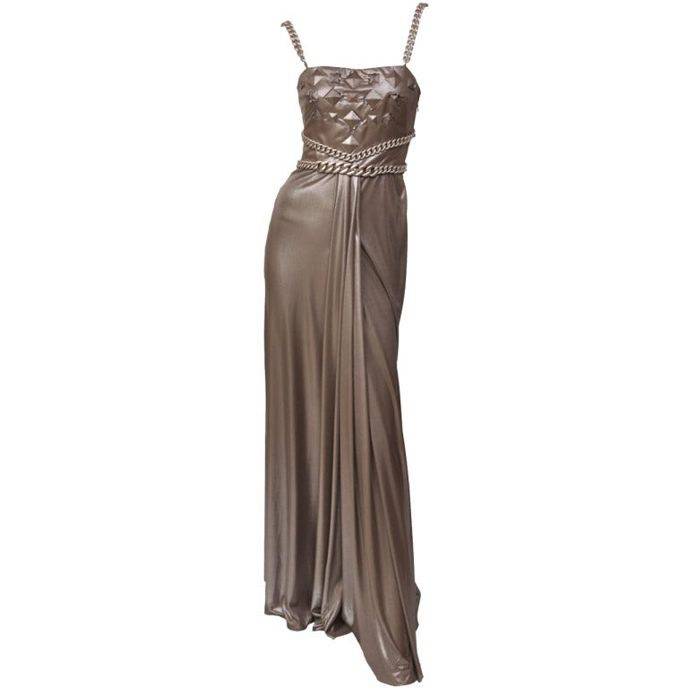 New Versace Chain Embellished Long Lame Dress 1