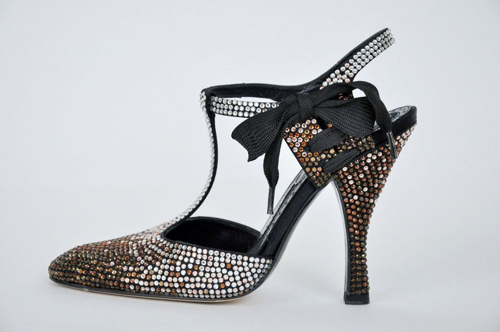 812aabc6149 Black Tom Ford for Yves Saint Laurent Rhinestone Spectator Shoes 36 For Sale