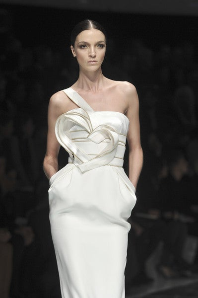 Beige Versace One Shoulder Long White Dress  With Heart For Sale