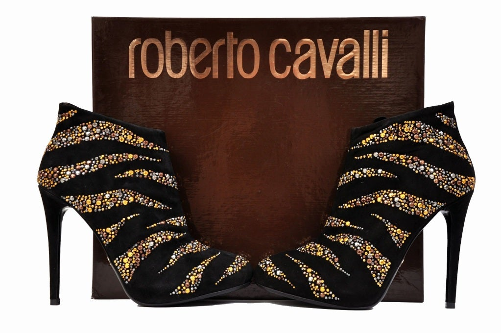 New Roberto Cavalli CRYSTAL EMBELLISHED ANKLE BOOTS 37.5 3