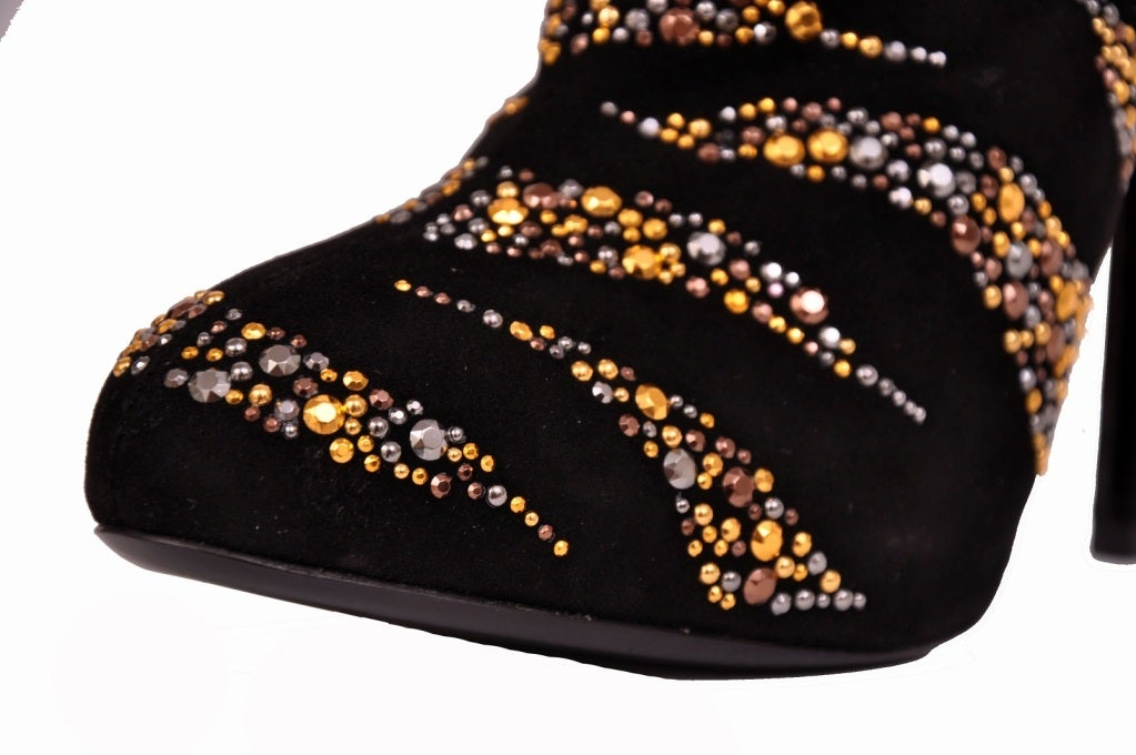New Roberto Cavalli CRYSTAL EMBELLISHED ANKLE BOOTS 37.5 4