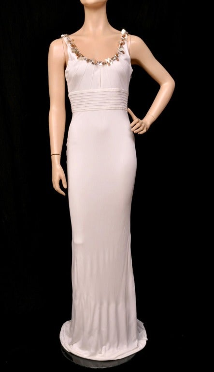 Versace embellished white crepe dress 2