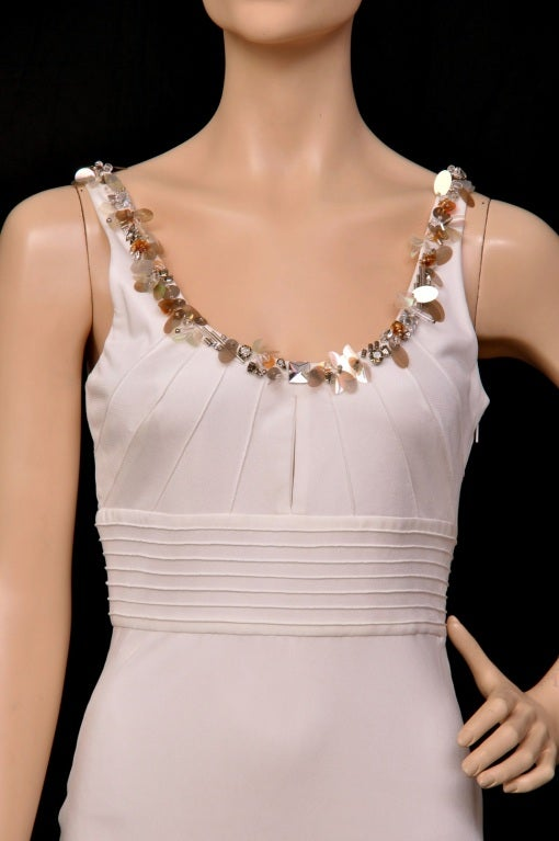 Gray Versace embellished white crepe dress For Sale