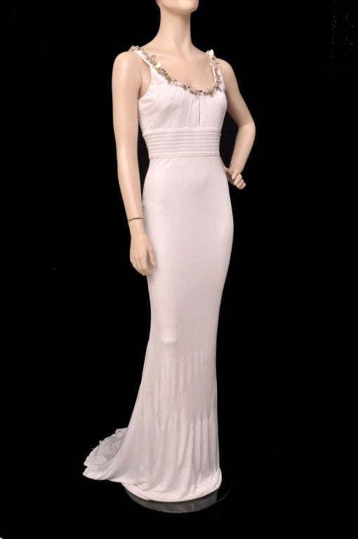 Versace embellished white crepe dress In New Never_worn Condition For Sale In Montgomery, TX