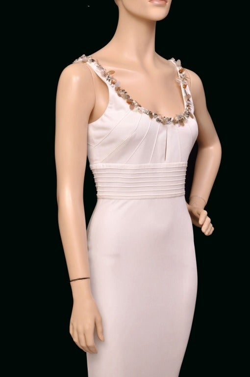 Versace embellished white crepe dress 5