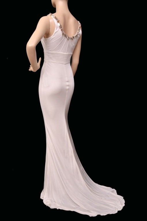 Versace embellished white crepe dress For Sale 1