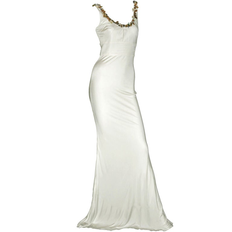Versace embellished white crepe dress For Sale