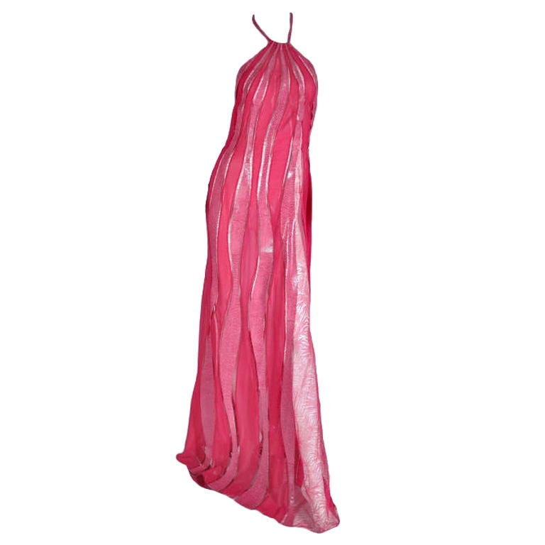 S/S 2000 Gianni Versace Couture Snakeskin Lace and Silk Gown