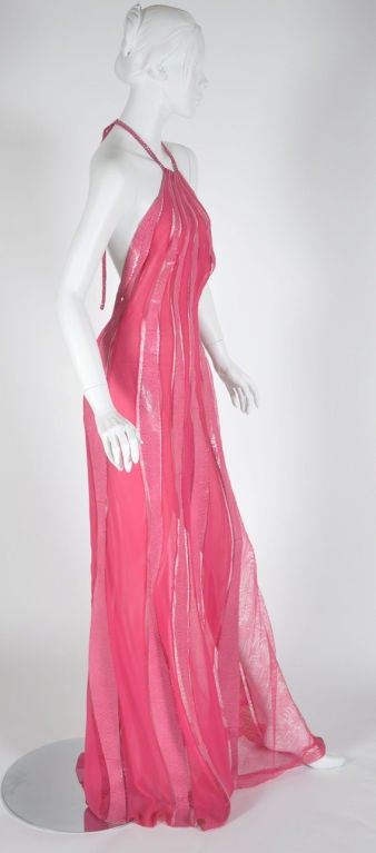 Pink S/S 2000 Gianni Versace Couture Snakeskin Lace and Silk Gown For Sale