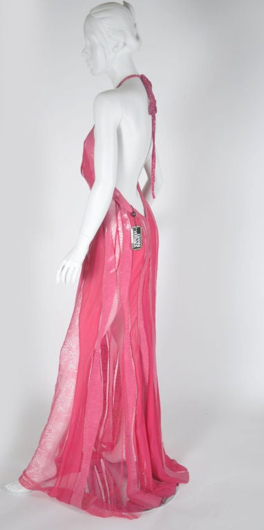 S/S 2000 Gianni Versace Couture Snakeskin Lace and Silk Gown For Sale 3