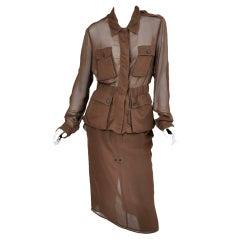 Tom Ford for Yves Saint Laurent cognac silk safari suit