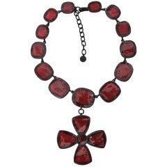 Tom Ford Red Pate De Verre Necklace With Cross