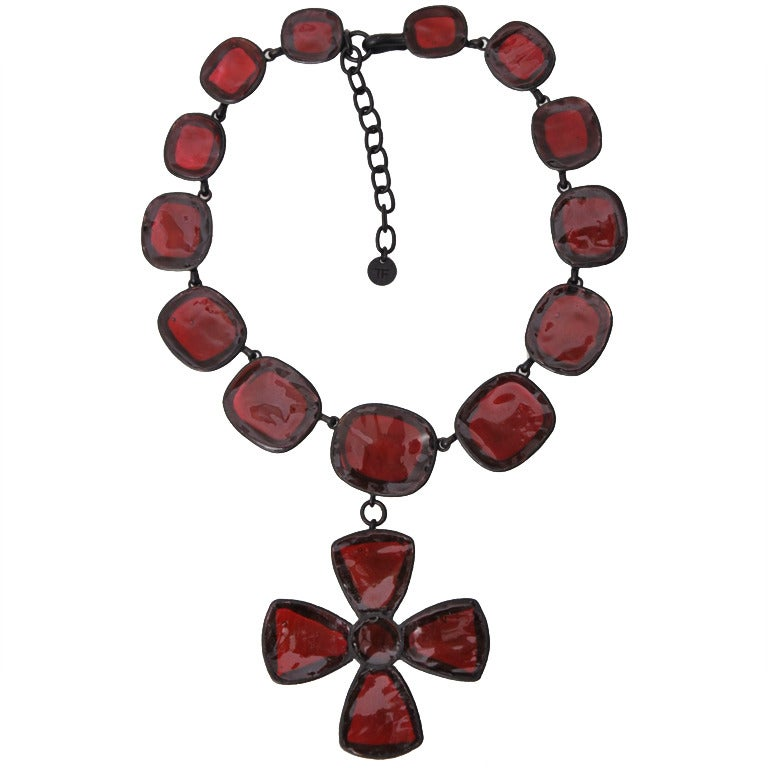 Tom Ford Red Pate De Verre Necklace With Cross For Sale