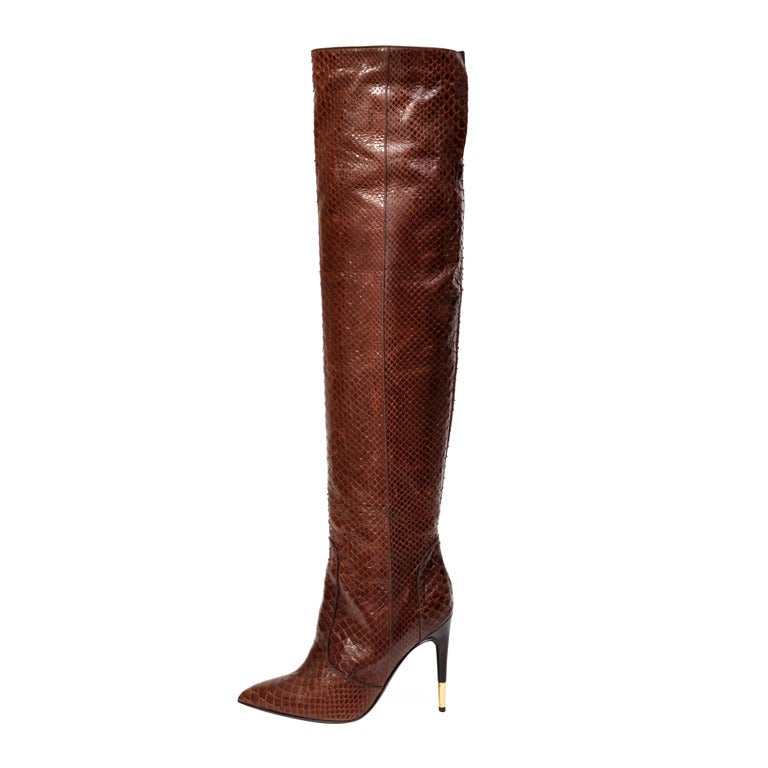 Tom Ford Brown Anaconda Over-the-knee Boots For Sale