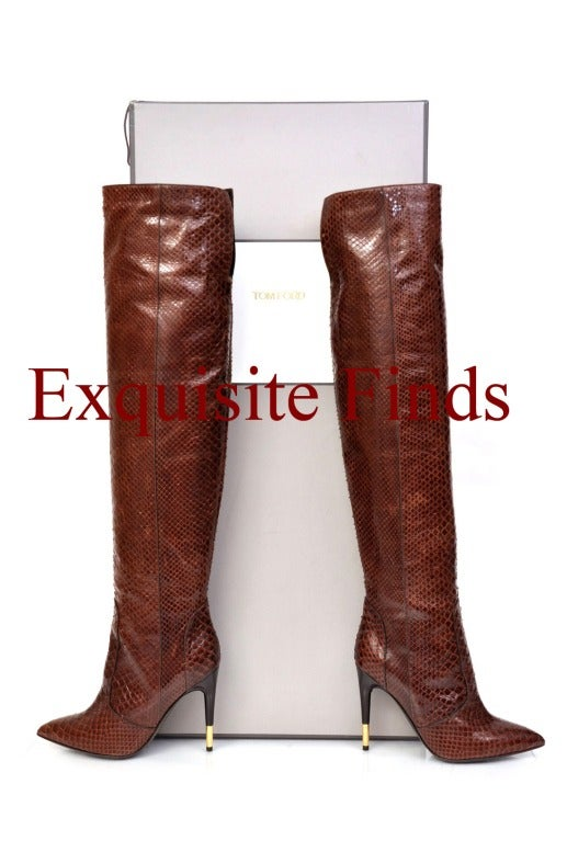 Tom Ford Brown Anaconda Over-the-knee Boots