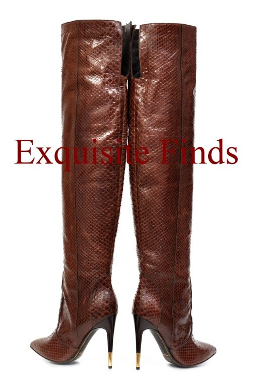 Tom Ford Brown Anaconda Over-the-knee Boots For Sale 1