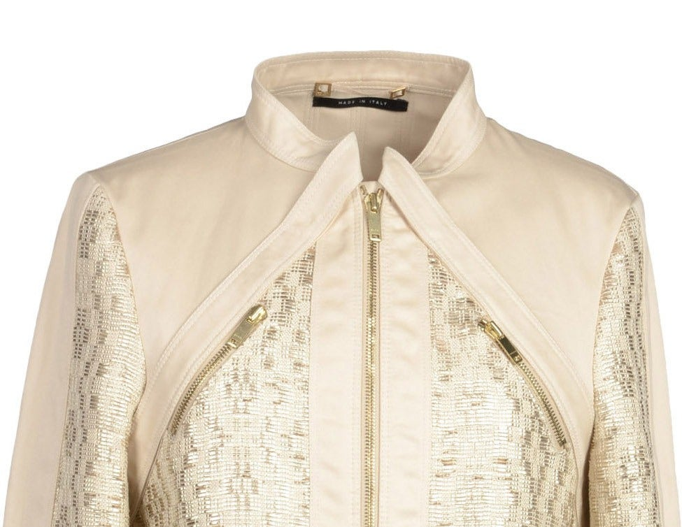 Beige 2004 Tom Ford for Gucci Gabardine and Leather Jacket *NEW with TAGS! For Sale