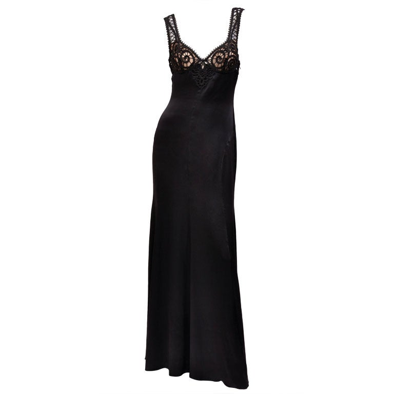 Versace Black Silk Gown with Macrame Detail  1