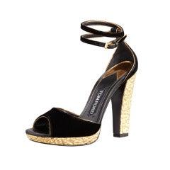 Tom Ford Black Velvet Crisscross Anklewrap Platform Sandals
