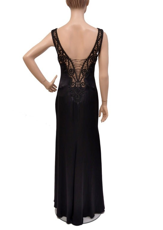 Versace Black Silk Gown with Macrame Detail  3