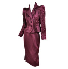 TOM FORD for YVES SAINT LAURENT BURGUNDY SILK SKIRT SUIT