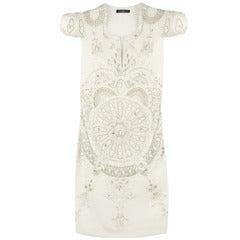 Balmain White Silk Embroidered mini dress
