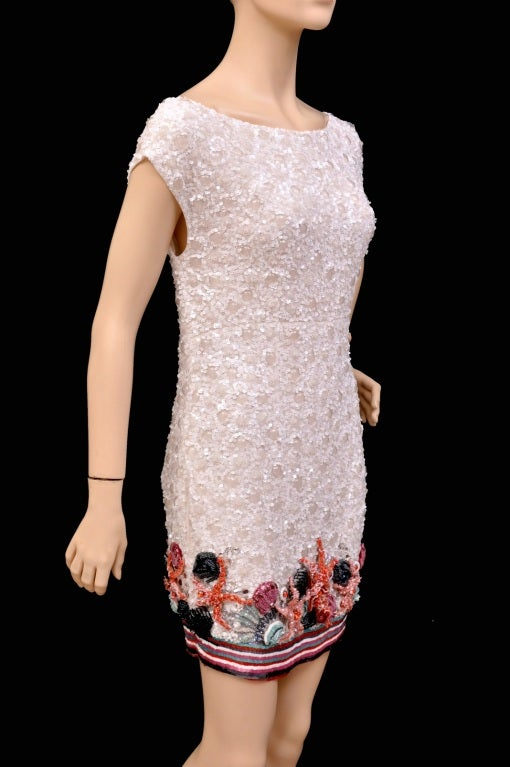 Beige Zuhair Murad Embellished Mini Dress For Sale