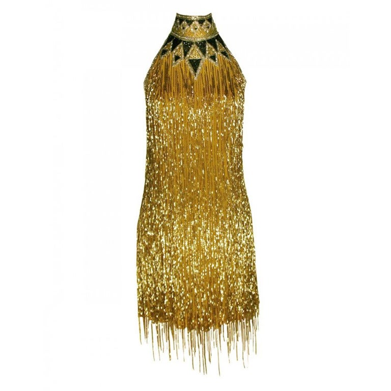 80-s Rare Bob Mackie Gold Beaded Fringe Dress 1
