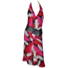 Versace Feather print silk dress with leather