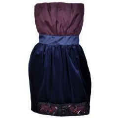Dolce & Gabbana strapless embellished silk velvet dress