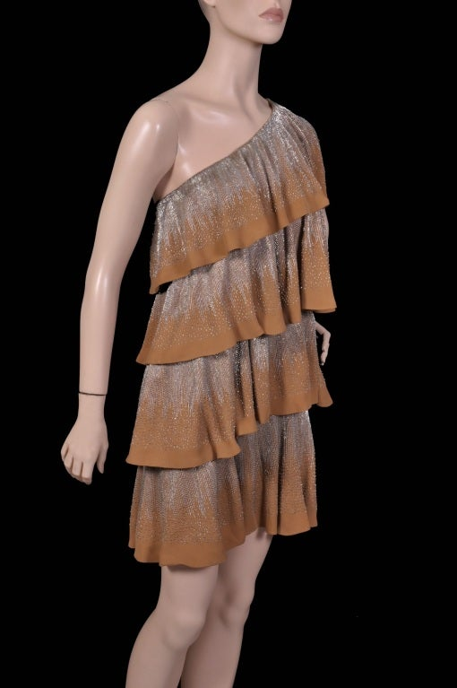 Gucci strapless ruffle gold beaded silk dress 4