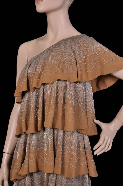 Gucci strapless ruffle gold beaded silk dress 5