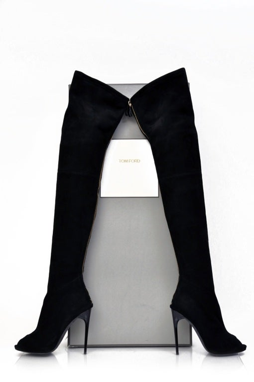 New TOM FORD BLACK STRETCH-SUEDE OVER THE KNEE BOOTS WITH OPEN TOE 2
