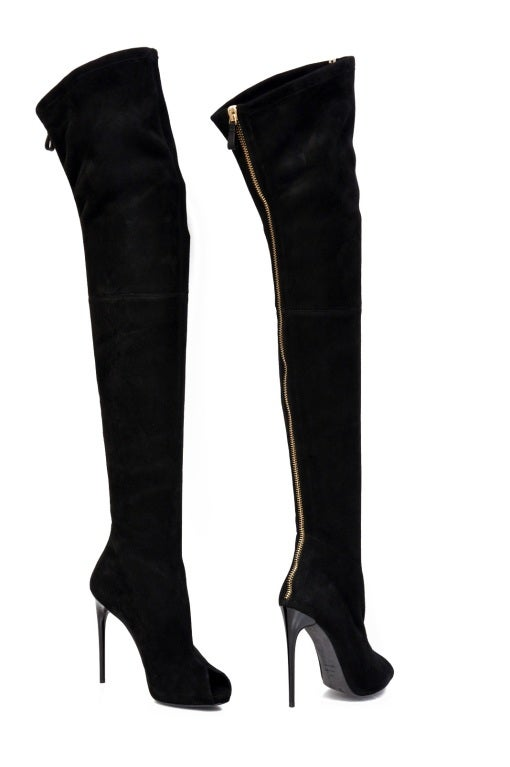 New TOM FORD BLACK STRETCH-SUEDE OVER THE KNEE BOOTS WITH OPEN TOE 5
