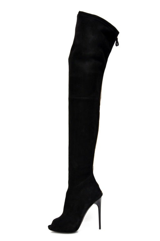 New TOM FORD BLACK STRETCH-SUEDE OVER THE KNEE BOOTS WITH OPEN TOE For Sale 2