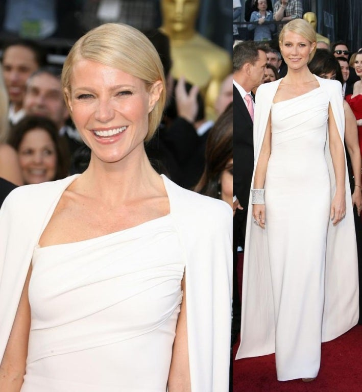 New Tom Ford Iconic White Dress with Cape Gwyneth wore to the Oscars! 2