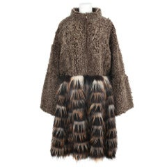 New FENDI Brown Shearling And Fox Fur Coat by Karl Lagerfeld
