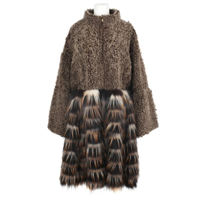 New Fendi Brown Shearling And Fox Fur Coat By Karl