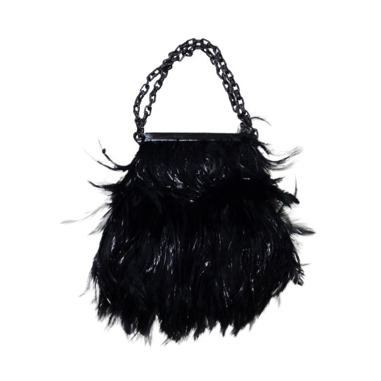 Tom Ford BLACK FEATHERS AND LIZARD CHAIN POUCH BAG 1