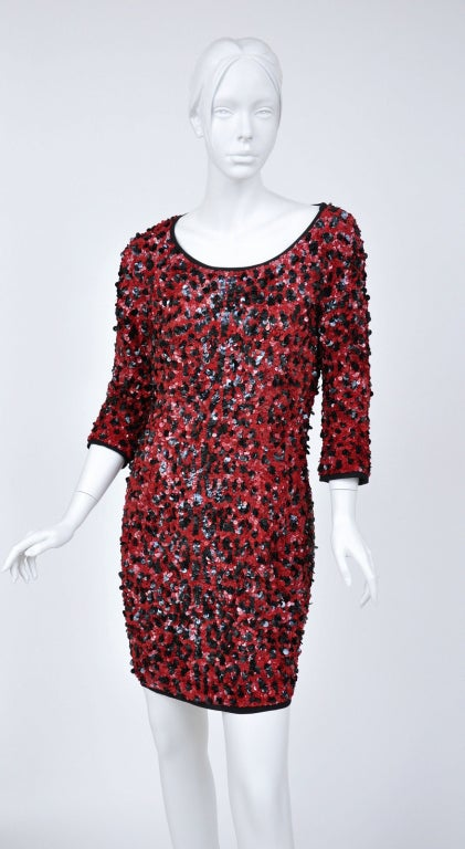 Black Dolce & Gabbana RED SEQUINED SILK LEOPARD PRINT DRESS For Sale