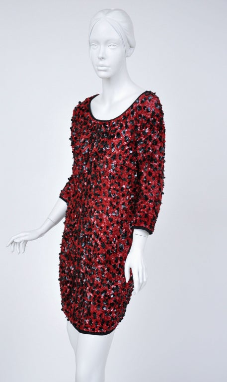 Dolce & Gabbana RED SEQUINED SILK LEOPARD PRINT DRESS In New never worn Condition For Sale In Montgomery, TX