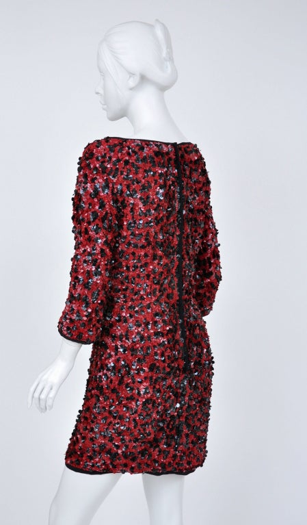 Women's Dolce & Gabbana RED SEQUINED SILK LEOPARD PRINT DRESS For Sale