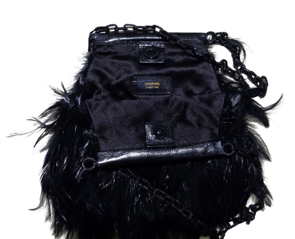 Tom Ford BLACK FEATHERS AND LIZARD CHAIN POUCH BAG 3