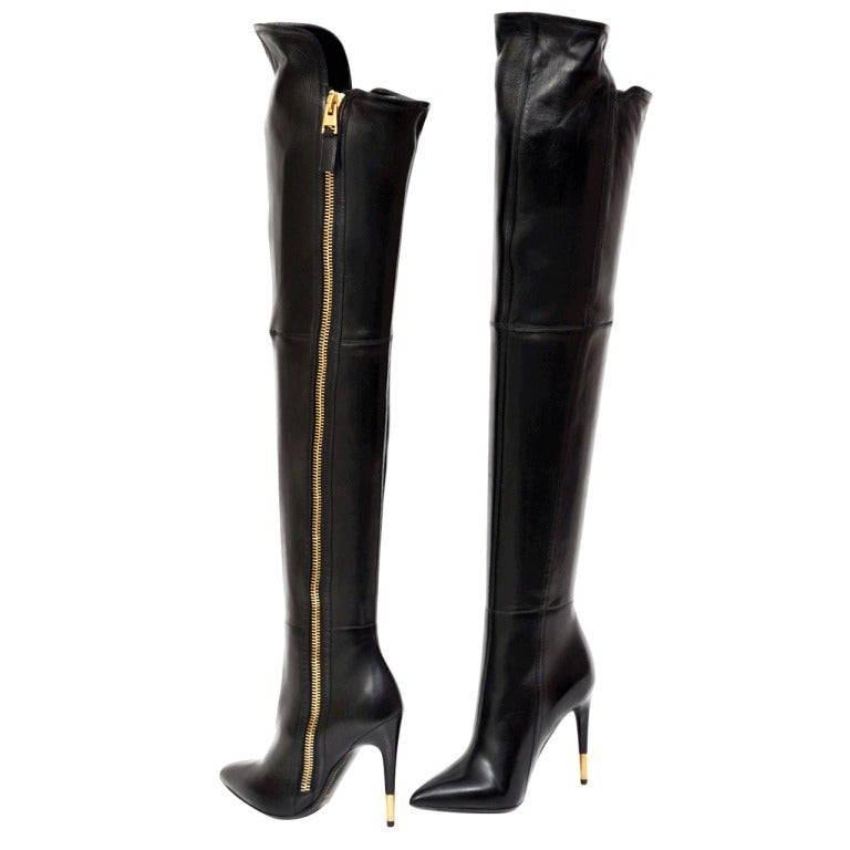 New TOM FORD BLACK LEATHER OVER THE KNEE BOOTS 1