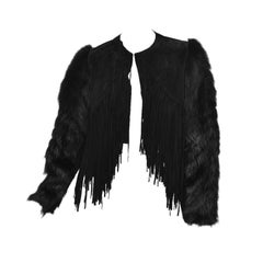 New ROBERTO CAVALLI BLACK FUR & LEATHER JACKET