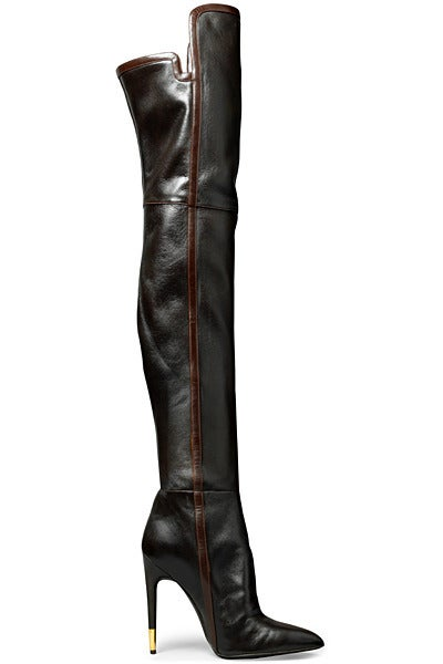 New TOM FORD BLACK LEATHER OVER THE KNEE BOOTS 2
