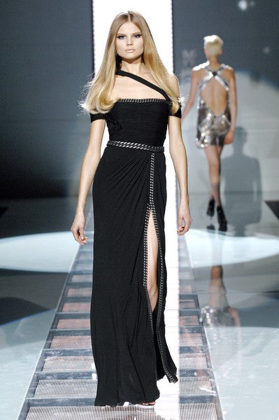Black New VERSACE BONDAGE CHAIN EMBELLISHED LONG BLACK DRESS For Sale