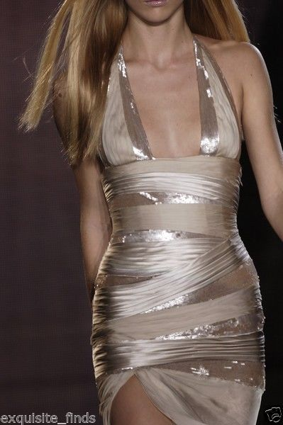 New VERSACE NUDE SEQUIN EMBELLISHED LONG DRESS GOWN 42 - 6 2