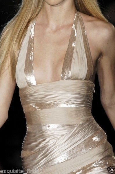 New VERSACE NUDE SEQUIN EMBELLISHED LONG DRESS GOWN 42 - 6 3